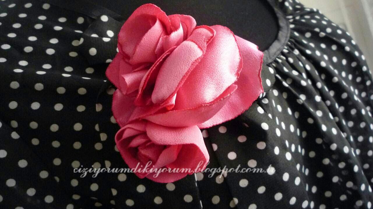 saten bluzden rozet yapımı