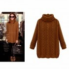 ladies camel cable knitted fashion sweater