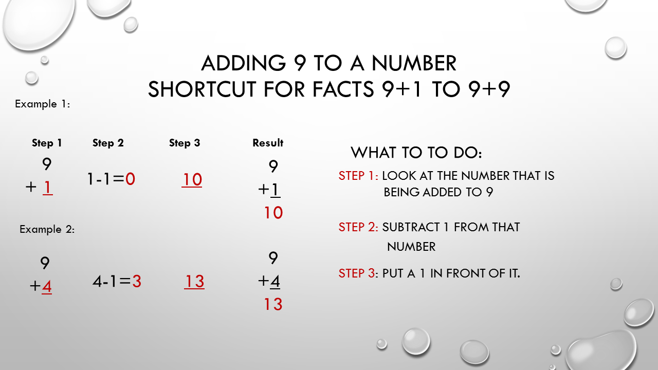 Math facts math math facts 187 adding 9 to a number math fact trick