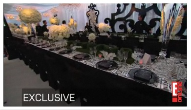 A decoração da mesa do casamento de Kim Kardashian