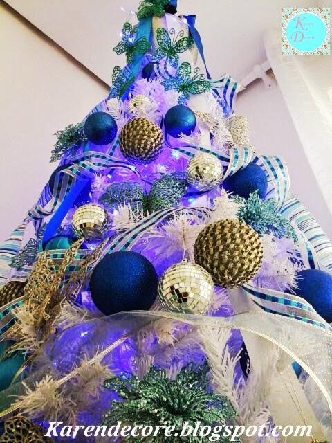 decoracao de arvore de natal azul e prata: para lhes mostrar minha decoração de natal amo a cor azul e por