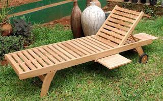 teak garden lounger