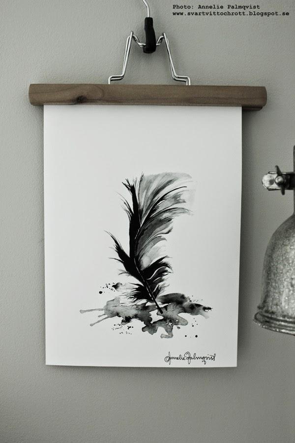 fjäder artprint, artprints, print, prints, feather, feathers, konsttryck, konsttryck by annelie, annelie palmqvist, svartvitt, svartvita motiv, tavla, tavlor, poster, posters, presenttips