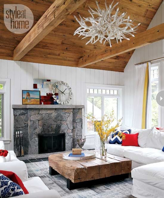 cottage living room vaulted beamed ceiling pitched high ceilings stone fireplace white sectional