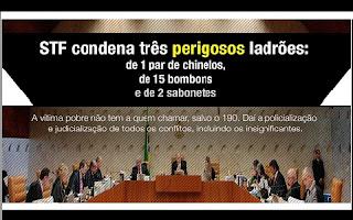 O Brasil enfrenta efetivamente profundas crises (econômica, política, social, jurídica e, sobretudo, ética). Quando a Corte Máxima de um país é chamada para julgar três ladrões (um subtraiu 1 par de chinelos de R$ 16, outro 15 bombons de R$ 30 e o terceiro 2 sabonetes de R$ 48) e diz que é impossível não aplicar, nesses casos, a pena de prisão, ainda que substituindo-a por alternativas penais, é porque chegamos mesmo no fundo do poço em termos de desproporcionalidade e de racionalidade. Usa-se o canhão do direito penal para matar pequenos pássaros (Jescheck).