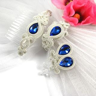niebieski komplet ślubny sutasz