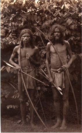 Veddah Tribesmen with Bow and Arrow - Ceylon (Sri Lanka) 1880's