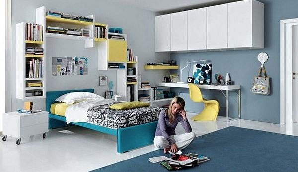 дизайн комнаты для подростка цвета морской волны фото