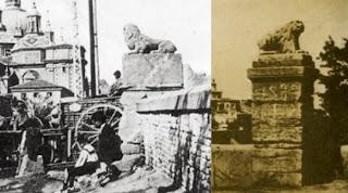 Antiguos leones de Piedra del Puente de Piedra de Zaragoza