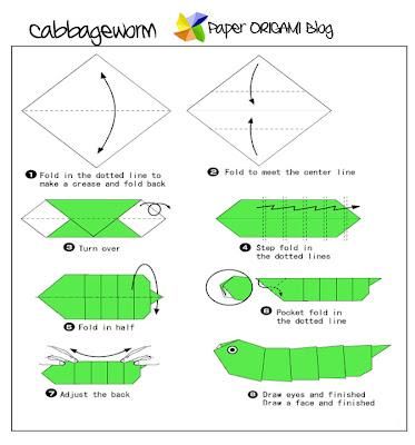 Worm Origami Folding Diagram