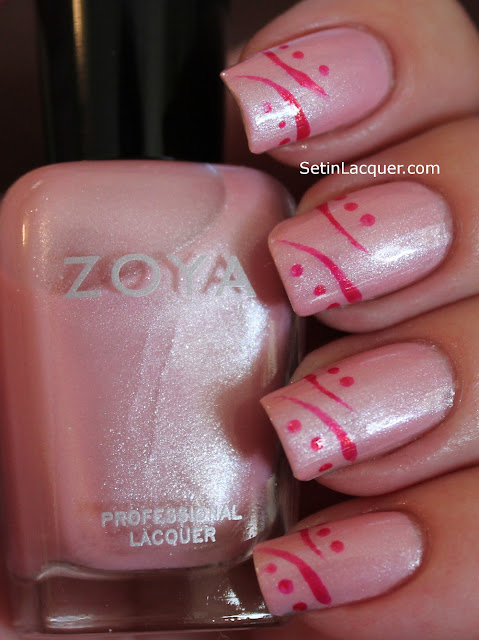 Zoya Gei Gei and Kimber pink nail art