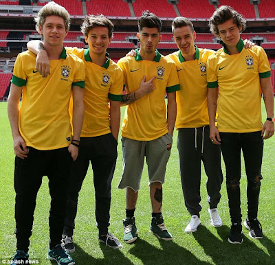 One Direction Band Members in Football Kits
