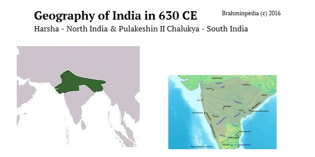 migration of Brahmins as per Dhruvasena II Charters issued in 632 AD - India Geography Harsha Pulakeshin II