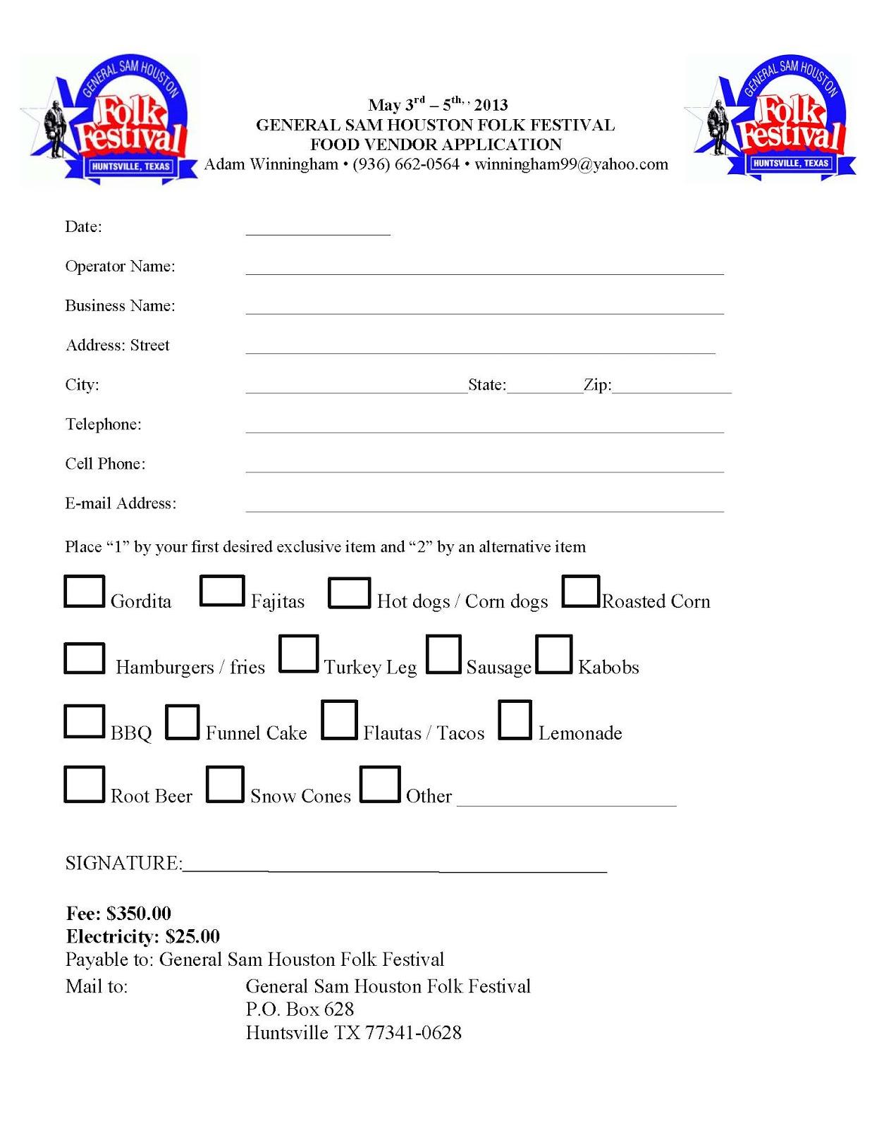 General Sam Houston Folk Festival: Food Vendor Application