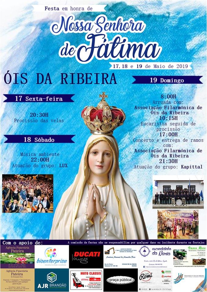 FESTA DE NOSSA SENHORA DE FÁTIMA EM ÓIS DA RIBEIRA!