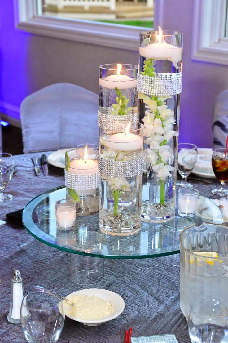 31 centros de mesa para boda con velas todo inspiraci n for Centro de mesa de cristal