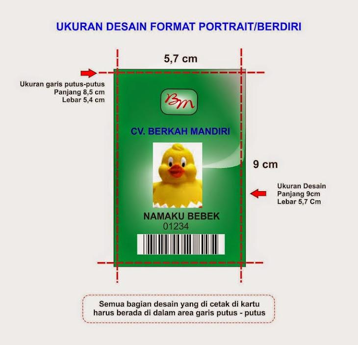 Format ukuran kartu beridiri