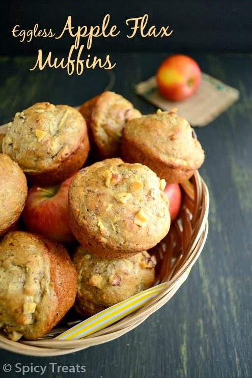flax apple muffins / eggless flax n apple muffins / eggless apple flax muffins