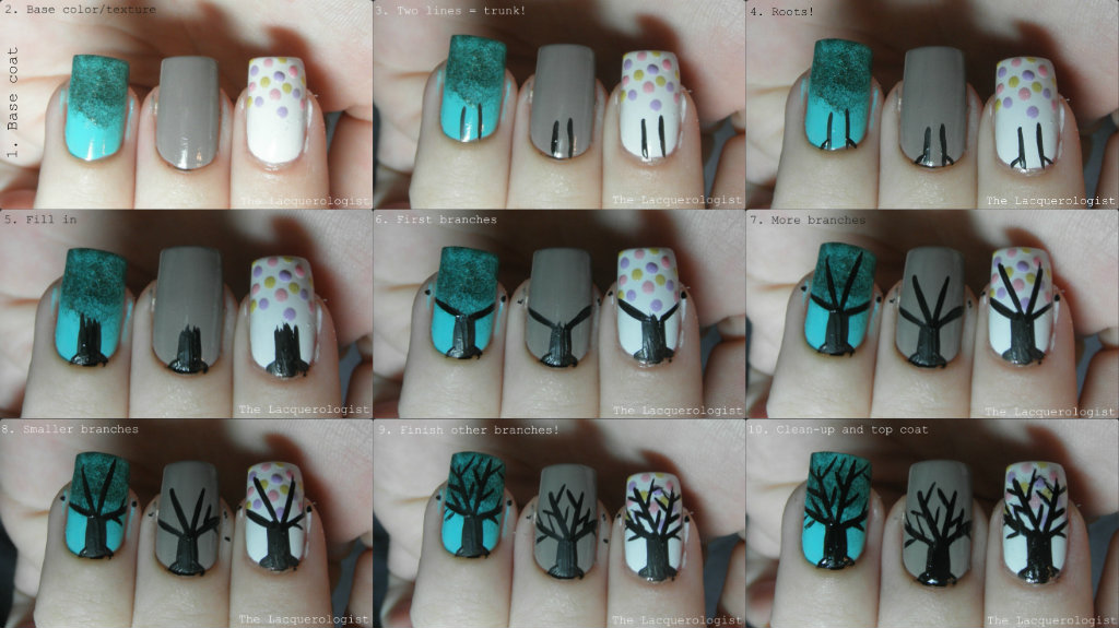 Basic Tree Nail Art Tutorial Casual Contrast