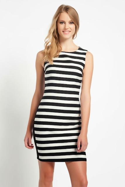 koton 2014 çizgili elbise kısa