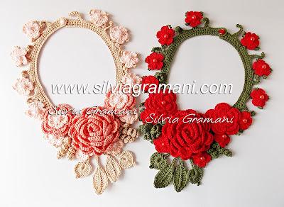 colar de croche, colar de croche com flores, colar afrodite, acessório, feminino