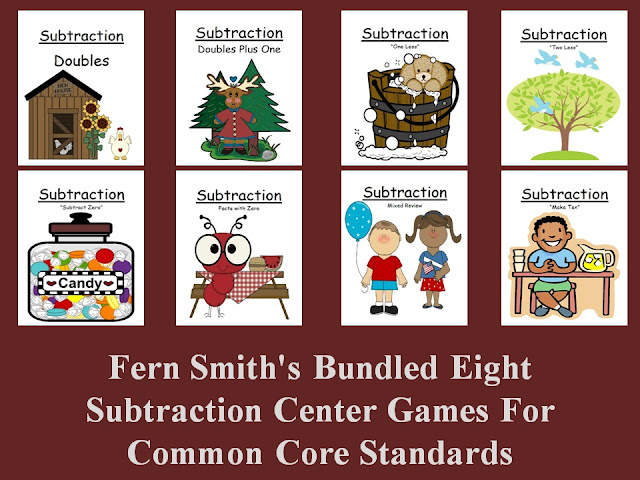 Fern Smith's Bundled Eight Subtraction Center Games For Common Core Standards