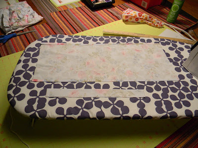 Both the large and small rectangle for a girl's headscarf, pieced, stitched and pressed.