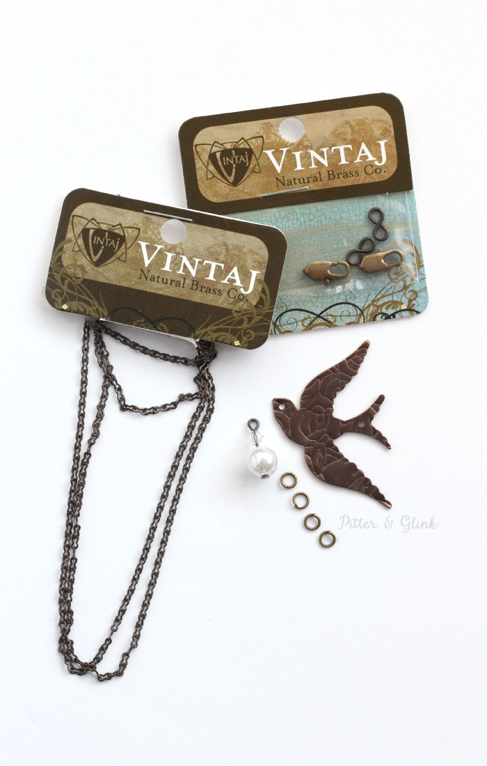 Vintaj Natural Brass supplies create a beautiful Etched Metal Songbird Necklace. pitterandglink.com