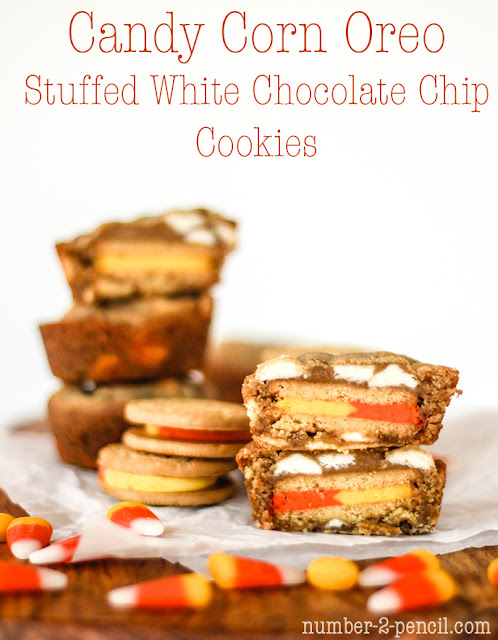 Candy Corn Oreo Stuffed White Chocolate Chip Cookies