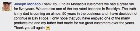 Joseph Monaco Message to fans and customers of Monaco's Bakery