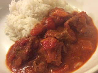 Goulash served with rice