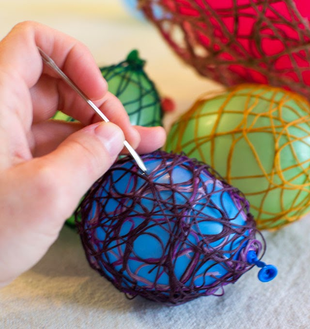 using balloons to create string eggs