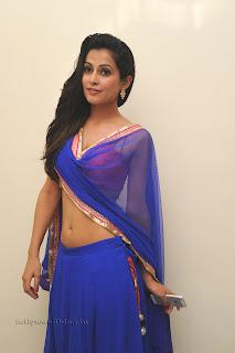 Disha Pandey in spicy Blue Saree Red Blouse at Manasunu Maya Seyake movie function