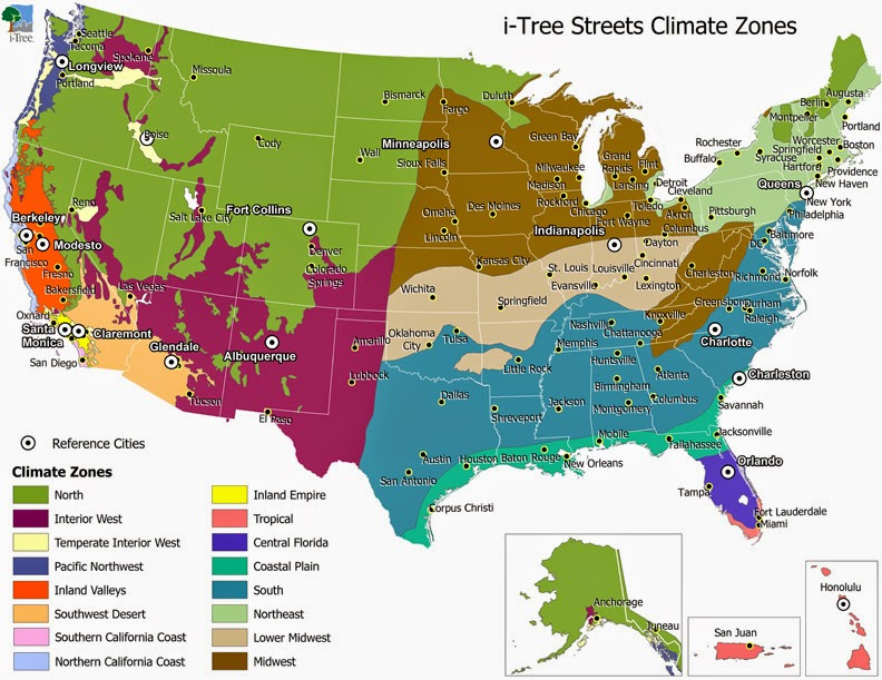 Detailed climate map of United States region zones.