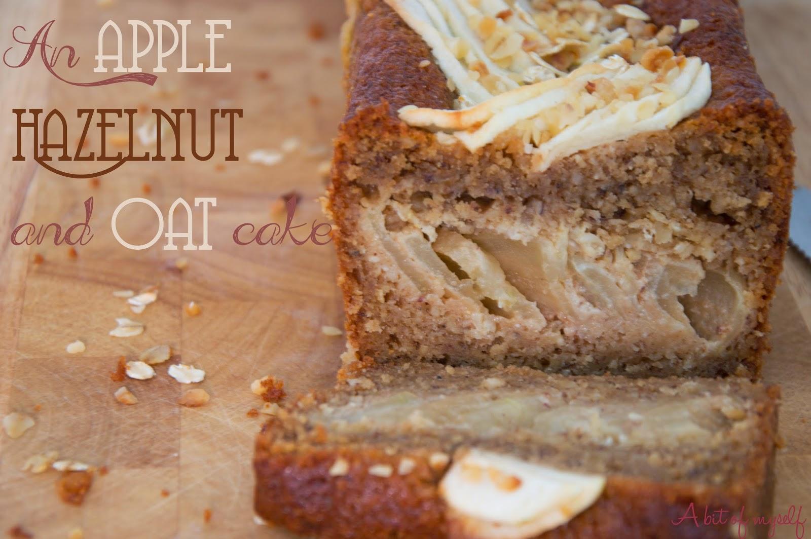 an apple, hazelnut and oat cake