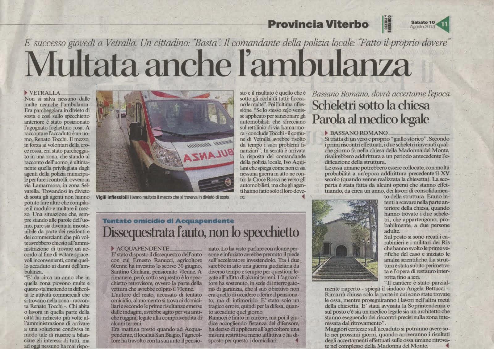 Vetralla: Multata anche l'ambulanza