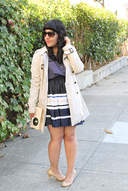 Trench Coat and Striped Skirt Work Outfit