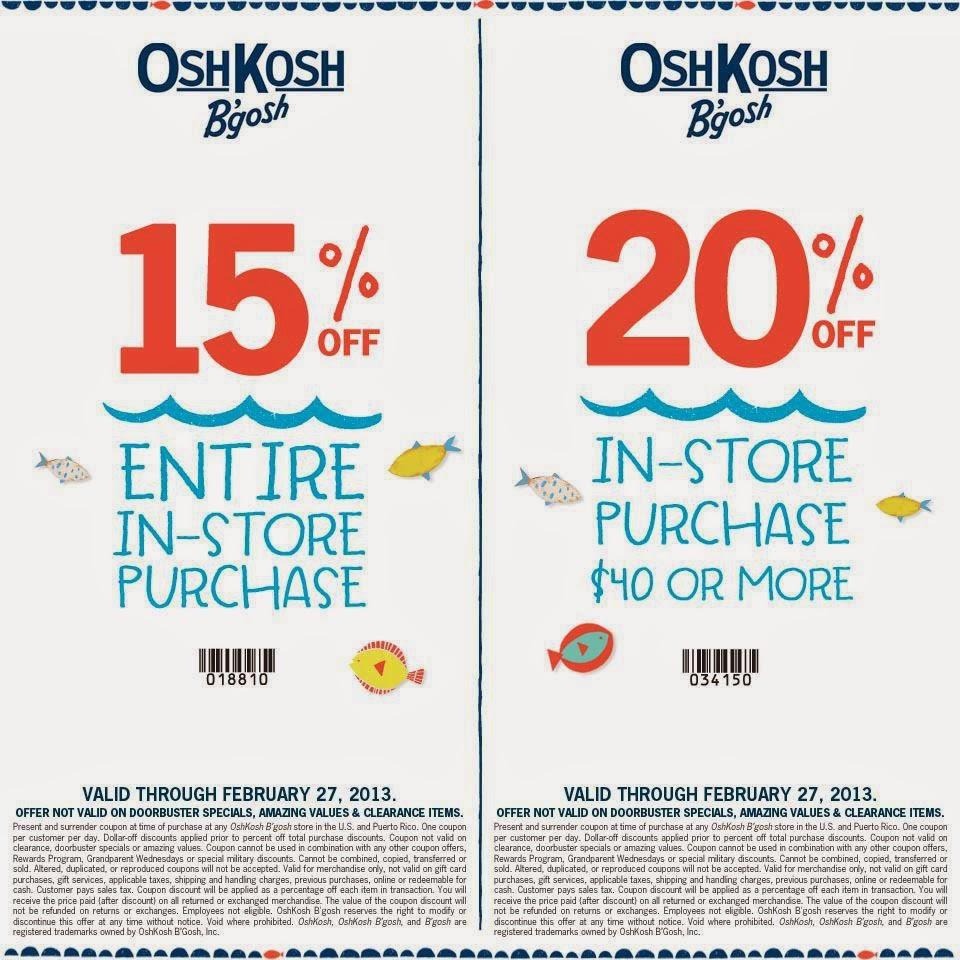 oshkosh b gosh coupon codes / active discount