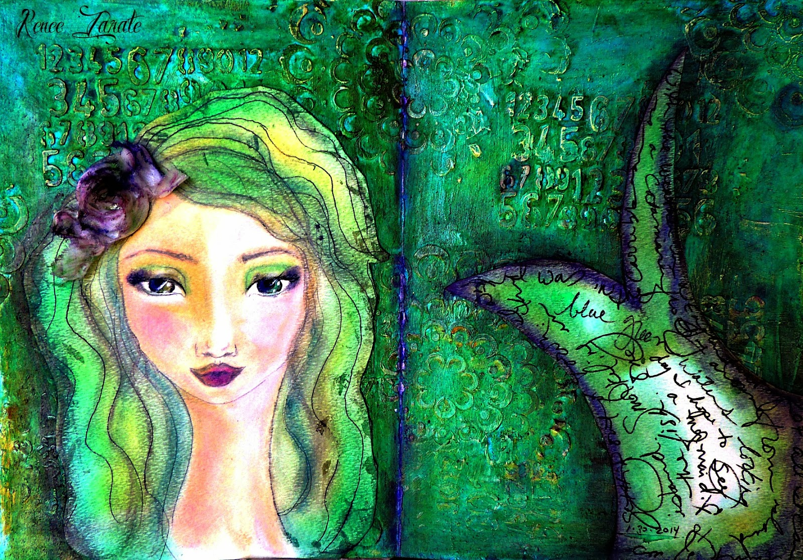 Bolton House Art Journal Mermaid Using Jane Davenport