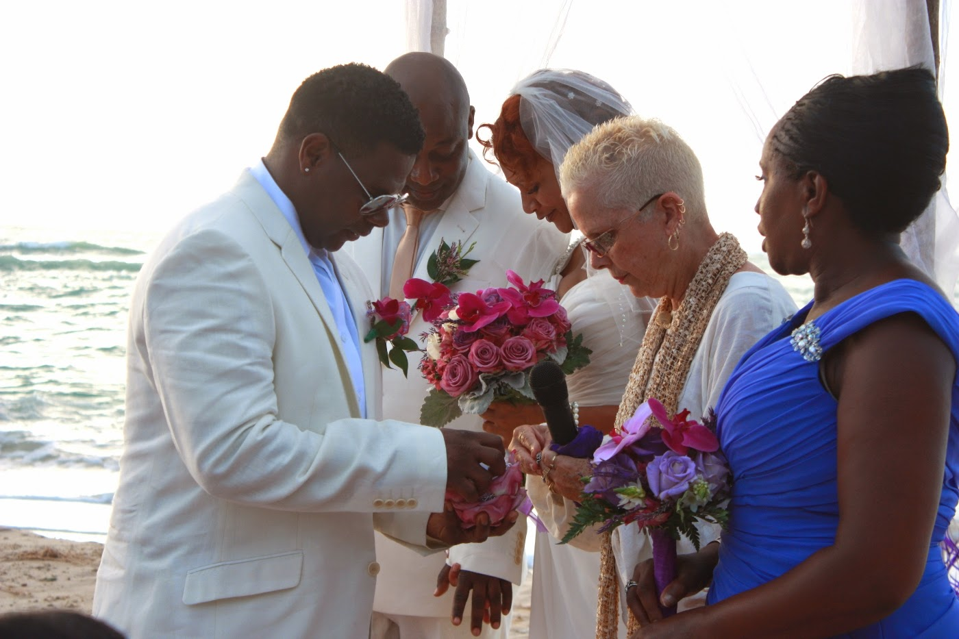 Destination beach wedding for UK couple at Pigeon point