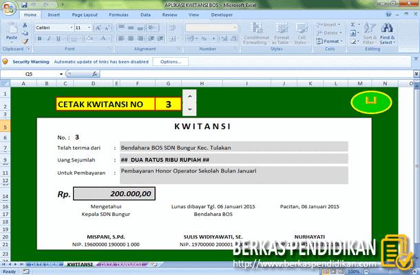 Aplikasi Kwitansi Bos Format Microsoft Excel Berkas Pendidikan
