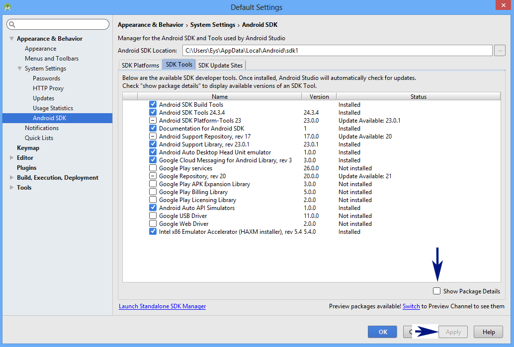 Android Studio - Añadir paquetes SDK