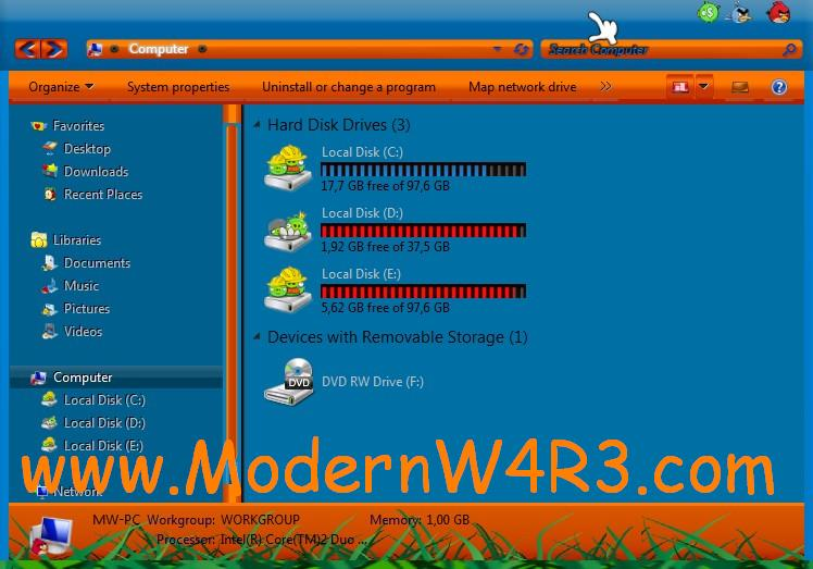 Angry Bird Skin Pack 1.0 For Windows 7 ~ Aan Kunaifi