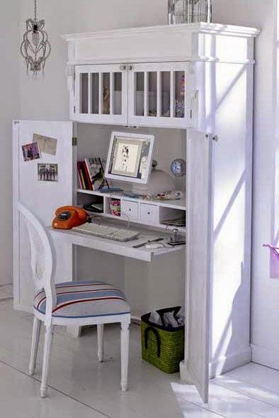 Un bureau dans le placard blog d co mydecolab for Armoire bureau blanche
