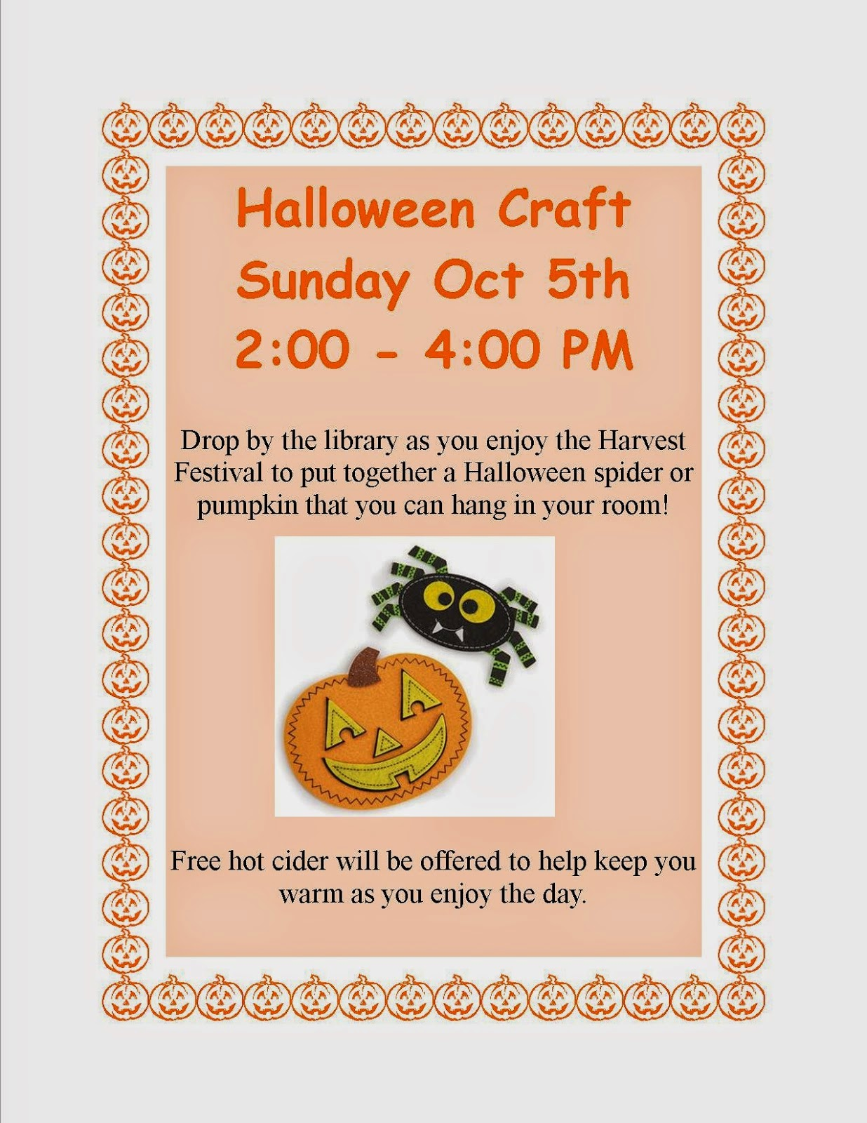 Halloween craft - Sunday, Oct 5th