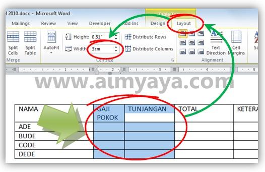 Gambar: Cara mengatur ukuran kolom tabel agar presisi/tepat di Microsoft Word 2010