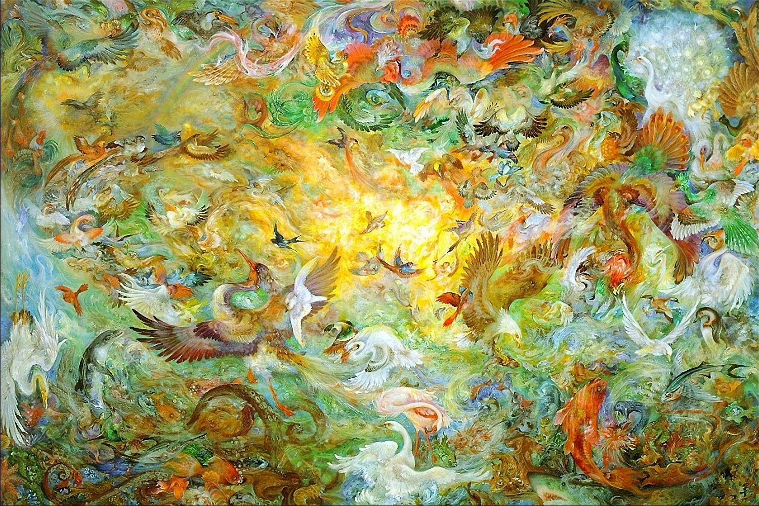 art now and then mahmoud farshchian the fifth day of creation 2007 12 mahmoud farshchian if michelangelo had been persian the sistine ceiling might have looked like this