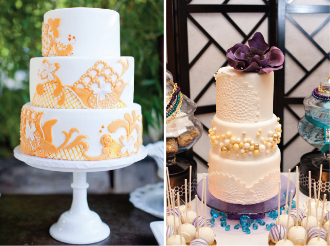 a touch of bright color such as this orange cake or this purple one