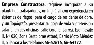 Empresa constructora requiere ingeniero civil