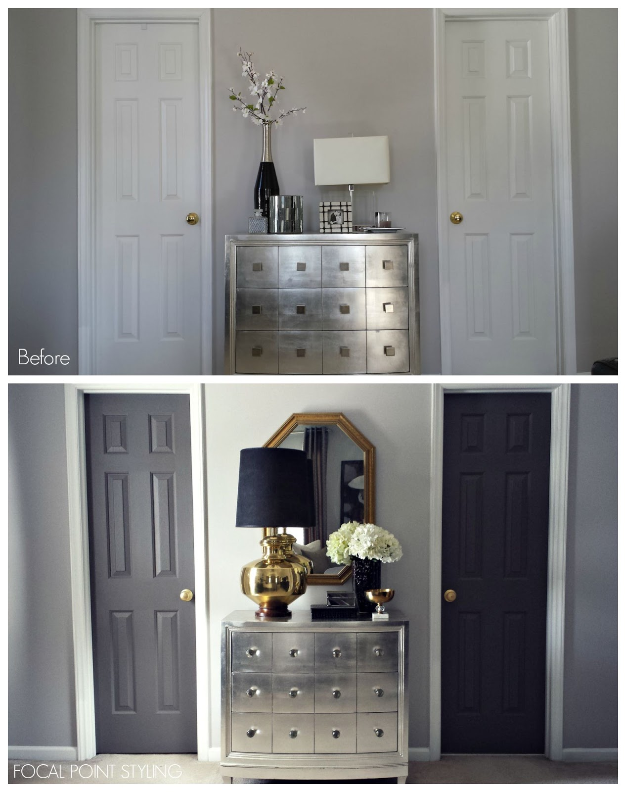 FOCAL POINT STYLING How To Paint Interior Doors Black u0026 Update Brass Hardware : door paint finish - pezcame.com
